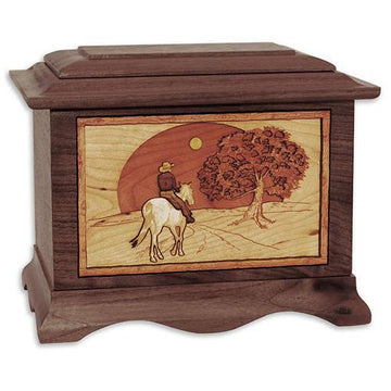 Horse and Moon Wood Urn