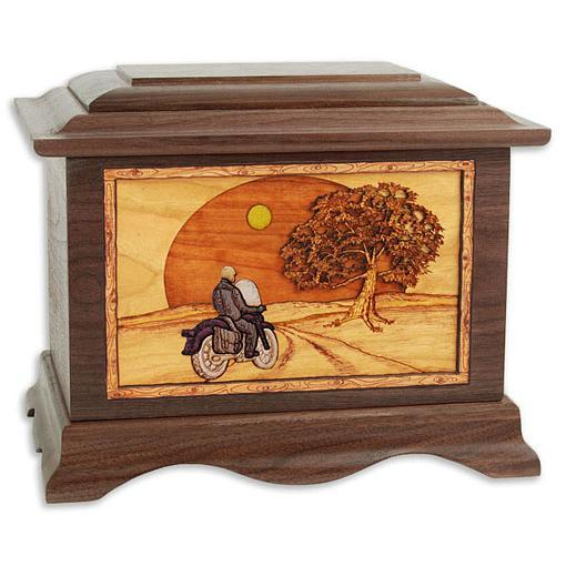 Motorcycle and Moon Wood Urn