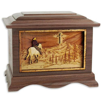 Horse and Cross Wood Urn
