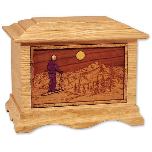 Skiing Home Wood Urn
