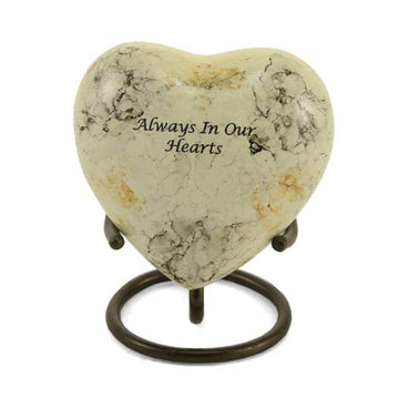 White Marble Metal Alloy Heart Keepsake Urn