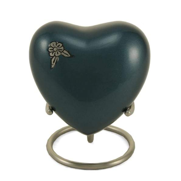 Artisan Indigo Metal Alloy Heart Keepsake