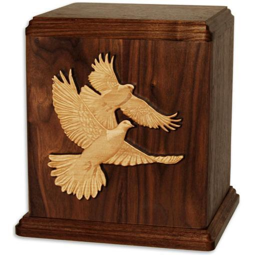 Companion Wood Urn with Inlay Doves