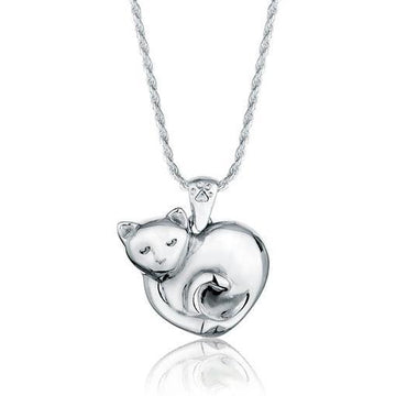Cuddling Cat Pet Cremation Jewelry