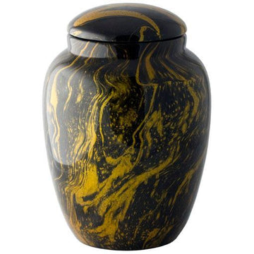 Hand Painted Swirl Yellow Urn