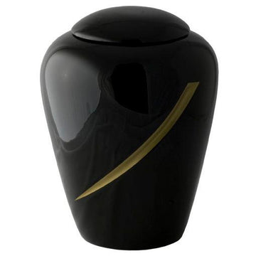 Hand Painted Black Designers Urn