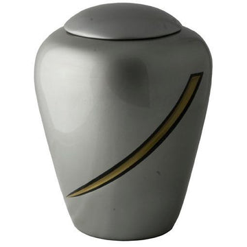 Hand Painted Dark Gray Designers Urn