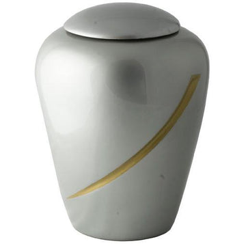 Hand Painted Light Gray Designers Urn