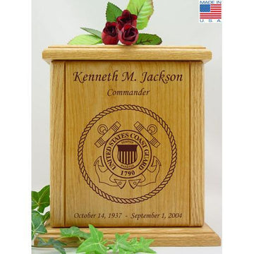 Military Wood Urn Coast Guard