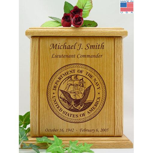 Wood Navy Military Urn
