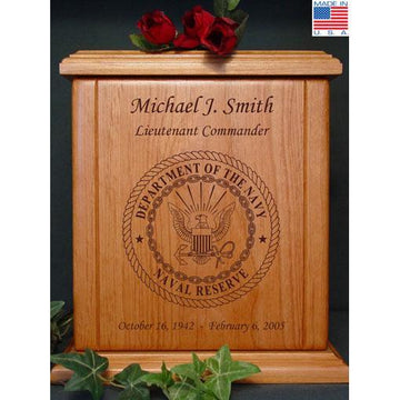 Military Wood Urn Navy Reserve