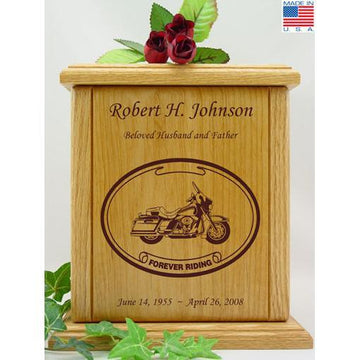 Born to Ride Motorcycle Wood Urn for Him
