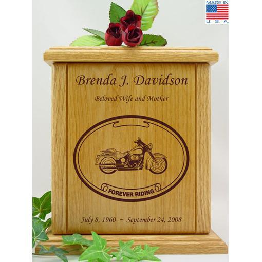 Born to Ride Motorcycle Wood Urn for Her