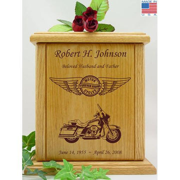 Born to Ride Motorcycle Wood Urn for Him - Wings