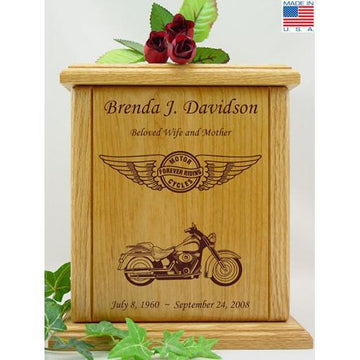 Born to Ride Motorcycle Wood Urn for Her - Wings