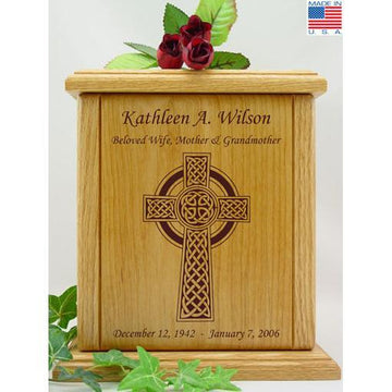 Celtic Cross Wood Urn
