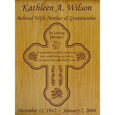 Cross Butterfly to Heaven Poem Wood Urn