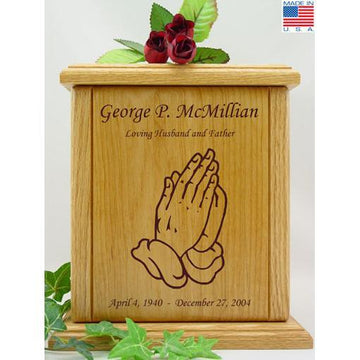 Praying Hands Wood Urn