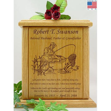 Fisherman Wood Urn With Sentiment and Prayer