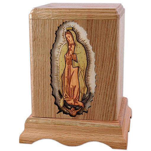 Our Lady of Guadalupe Wood Urn