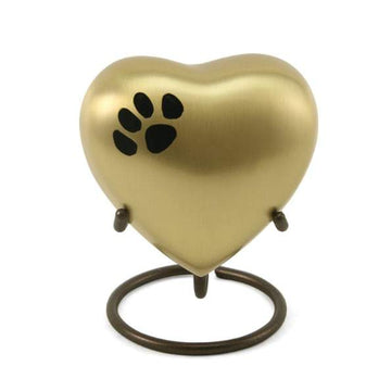Brass Paw Print Heart Keepsakes