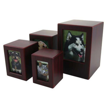 Pet Photo Urn Cherry Finish