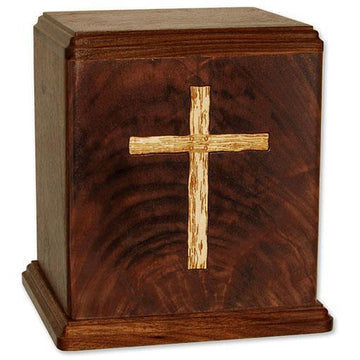 Cross Inlaid Wood Urn
