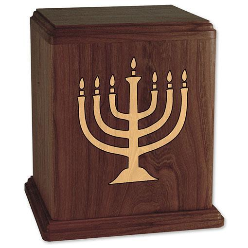 Menorah Inlaid Wood Urn
