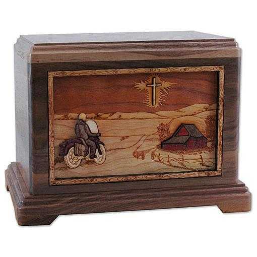 Riding Home Motorcycle and Cross Wood Urn