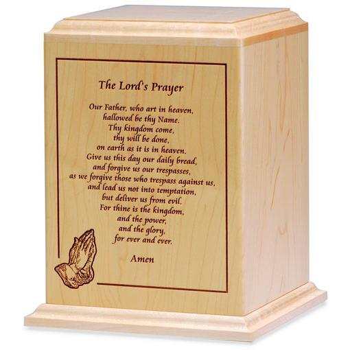 Lord's Prayer Wood Urn