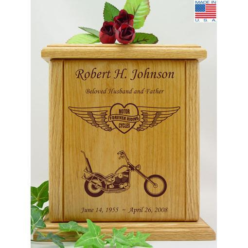 Forever Riding Heart Motorcycle Wood Urn - Chopper