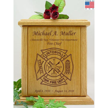 Firefighter Wood Urn