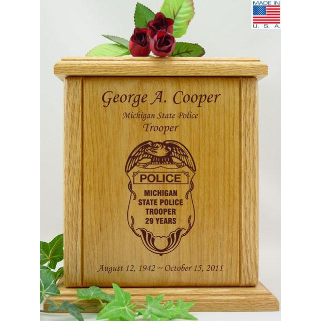 Police Officer Wood Urn
