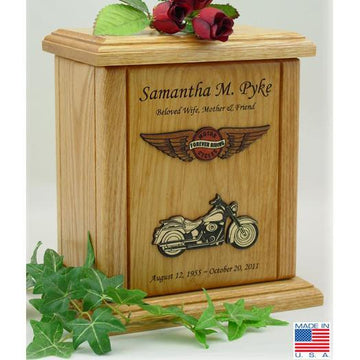 Motorcycle Wood Urn - Wings Embossed