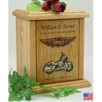 Motorcycle Wood Urn - Heart Embossed