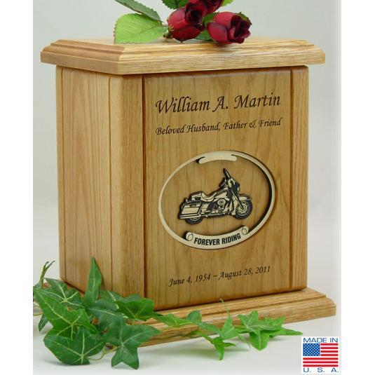 Motorcycle Wood Urn - Oval Embossed