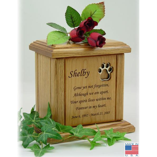 Recessed Paw Print Poem Pet Cremation Urns Small/Medium