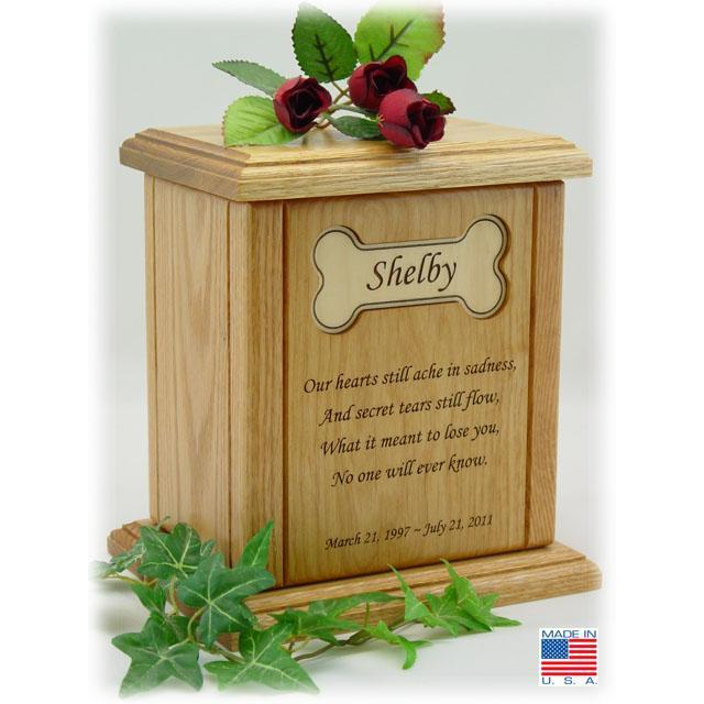 Recessed Bone Poem Pet Cremation Urns Large