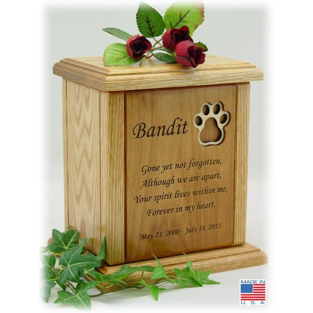 Recessed Paw Print Poem Pet Cremation Urns Large