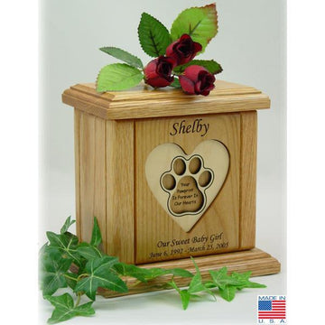 Recessed Heart With Paw Print Pet Urns