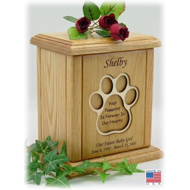 Heart With Embossed Paw Print Pet Urn
