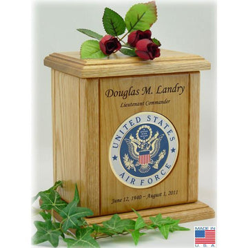 Recessed Embossed Military Medallion Wood Urn
