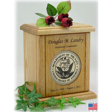 Recessed Wood Military Medallion Wood Urn