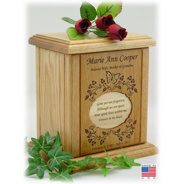 Oval Recessed Poem Wood Cremation Urns