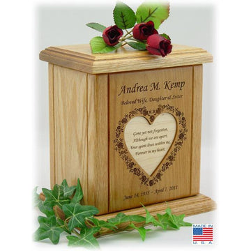 Heart Recessed Poem Wood Cremation Urns