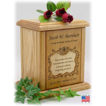 Recessed Poem Wood Cremation Urns