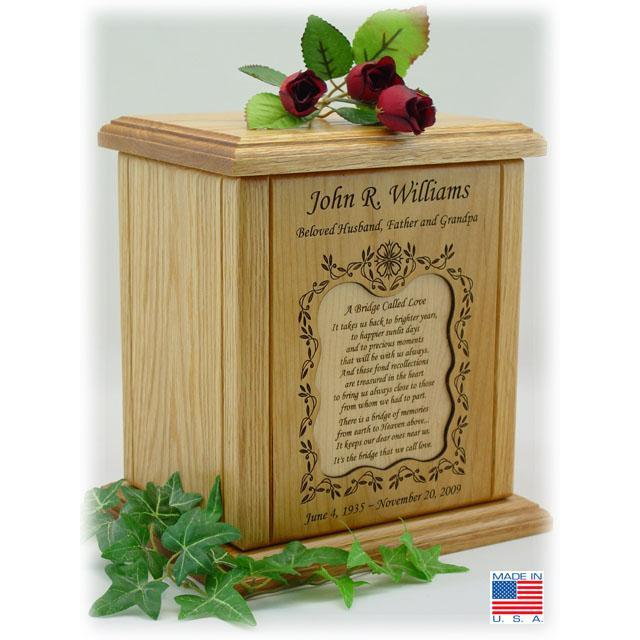 Recessed Medium Poem Wood Cremation Urns