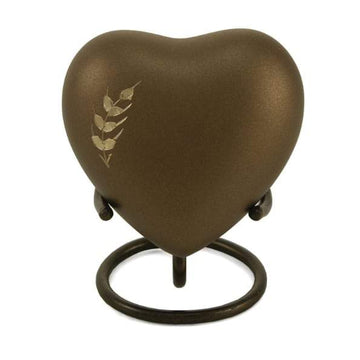 Aria Wheat Brass Heart Keepsake
