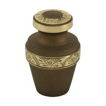 Grecian Rustic Bronze Solid Brass Cremation Keepsake