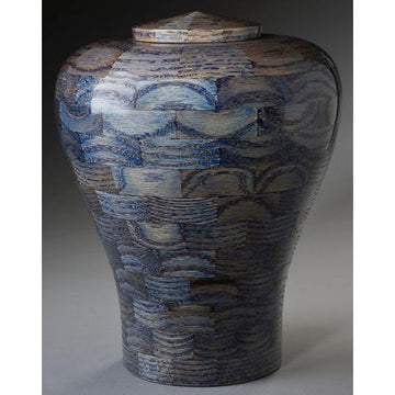 Steve Shannon Wood Adult Urn #22 Lily Blue